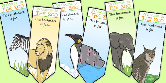 Zoo Animal Bookmarks - zoo, animal, bookmarks, marks, books