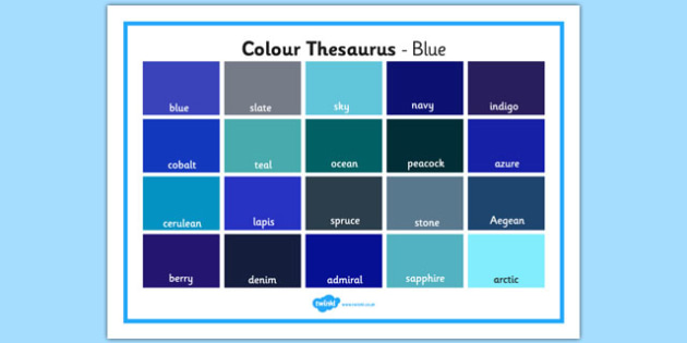 Colour Thesaurus Word Mat Blue - colour thesaurus, colour, thesaurus, word mat, word, mat, blue
