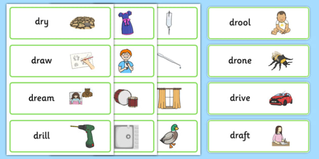 DR Word Cards -speech sounds, phonology, articulation, speech therapy, cluster reduction, clusters, blends