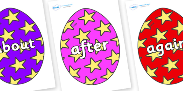 KS1 Keywords on Easter Eggs (Stars) - KS1, CLL, Communication language and literacy, Display, Key words, high frequency words, foundation stage literacy, DfES Letters and Sounds, Letters and Sounds, spelling