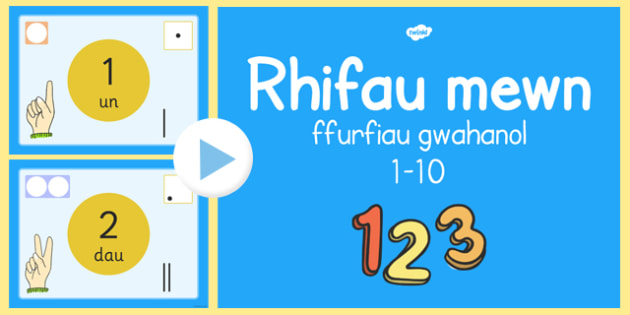 Pwerbynt rhifau 1-10 Welsh - welsh, cymraeg, PP, Rhif 1-10, ffurfiau gwahanol, adrodd rhifau hyd at 10