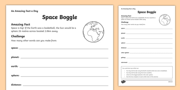 Space Boggle Activity Sheet - amazing fact a day, activity sheet, activity, activities, space, boggle, worksheet