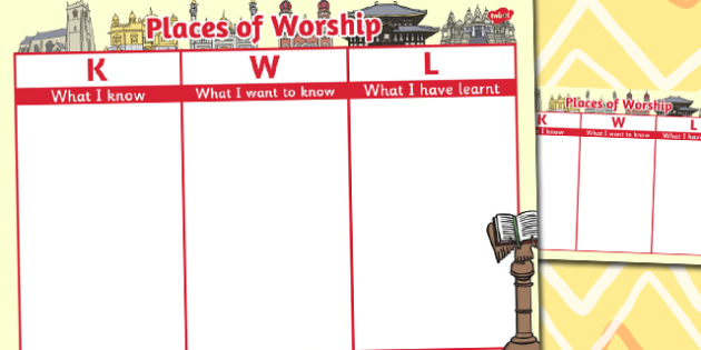Places of Worship Topic KWL Grid - worship topic, kwl, grid