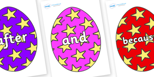 Connectives on Easter Eggs (Stars) - Connectives, VCOP, connective resources, connectives display words, connective displays