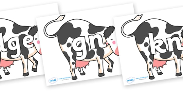Silent Letters on Bullabaloo Cow to Support Teaching on Farmyard Hullabaloo - Silent Letters, silent letter, letter blend, consonant, consonants, digraph, trigraph, A-Z letters, literacy, alphabet, letters, alternative sounds
