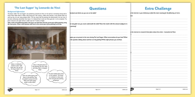 The Last Supper by Da Vinci Art Appreciation Activity Sheet - The Last Supper, Da Vinci, artist, art, activity sheet, Italy, worksheet