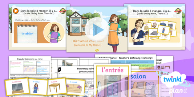 French: Let's Visit a French Town: Welcome To My Home Year 6 Lesson Pack 5
