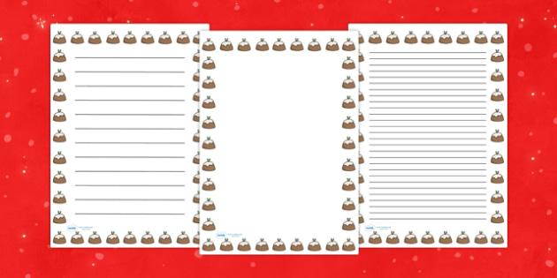 Christmas Pudding Portrait Page Borders- Portrait Page Borders - Page border, border, writing template, writing aid, writing frame, a4 border, template, templates, landscape