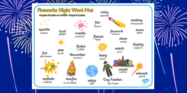 Fireworks Night Romanian Translation - romanian, bonfire night, word mat, fireworks