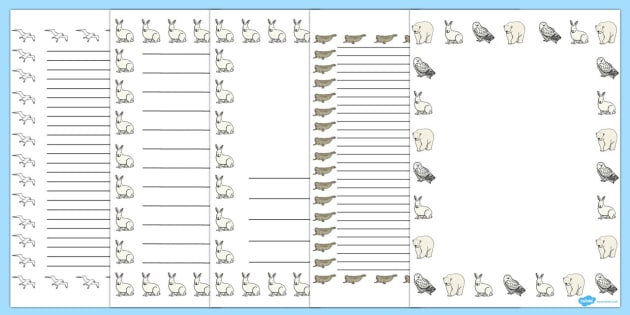 Arctic Animals Page Borders - arctic animals, page borders, themed page borders, writing guide, writing frame, writing template, line guide, writing