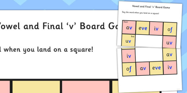 Vowel and Final 'V' Board Game - final v, sound, board game