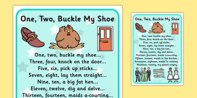 One Two Buckle My Shoe Nursery Rhyme Poster - rhymes, poems