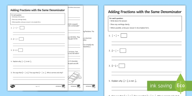 Adding Fractions with the Same Denominator Activity Sheet  - Add Subtract Addition Numerator Denominator same Denominator common Simplify Simplest Fractions word