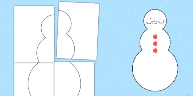 Large Blank Snowman Template - large, blank, snowman, template, winter