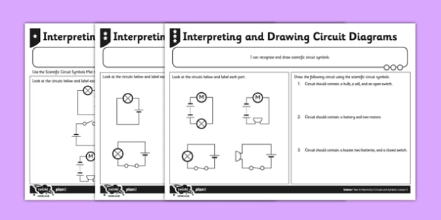 Interpreting and Drawing Circuit Symbols Activity Sheet - circuit, symbols, scientific, pictures, diagram,electricity, ks2, key stage 2, worksheet