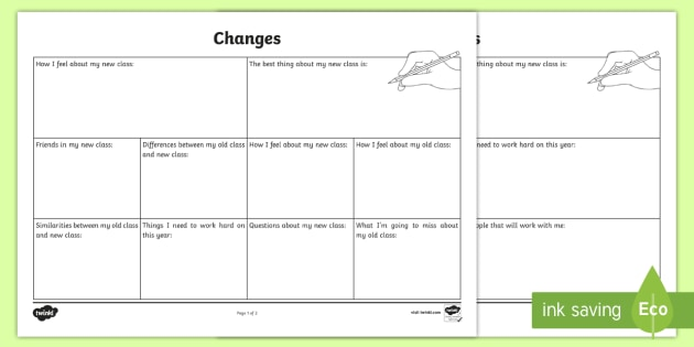 Changes Transition Worksheet - school transition, growing up