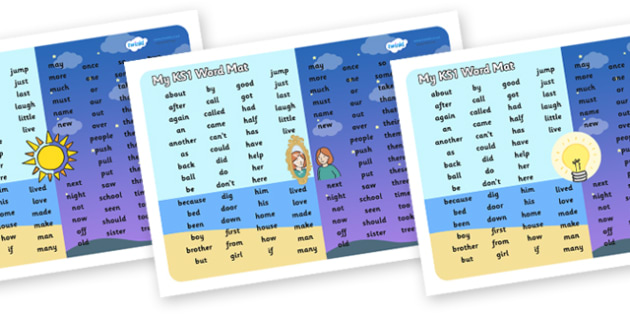 Light and Dark Themed KS1 Word Mat - ks1 word mat, light and dark, ks1, word mat, light, dark, key stage one, word, mat, light and dark ks1 word mat