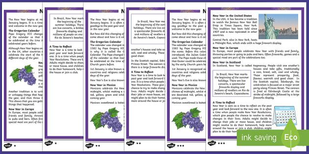 KS2 New Year Differentiated Reading Comprehension Activity - KS2 reading comprehension, new year, New Year celebrations, new year resolutions, new year celebrati