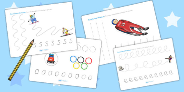 Winter Olympics Pencil Control Worksheets - fine motor skills