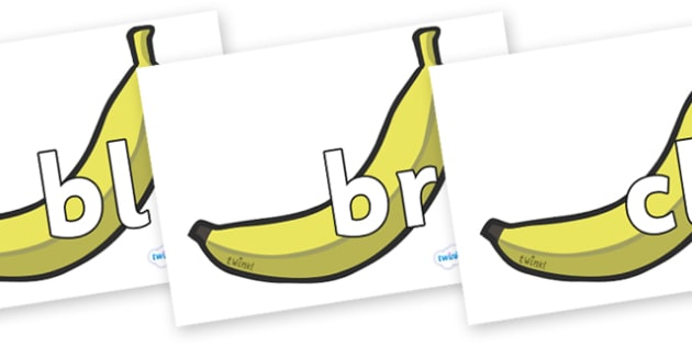 Initial Letter Blends on Bananas - Initial Letters, initial letter, letter blend, letter blends, consonant, consonants, digraph, trigraph, literacy, alphabet, letters, foundation stage literacy