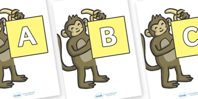 A-Z Alphabet on Monkeys - A-Z, A4, display, Alphabet frieze, Display letters, Letter posters, A-Z letters, Alphabet flashcards