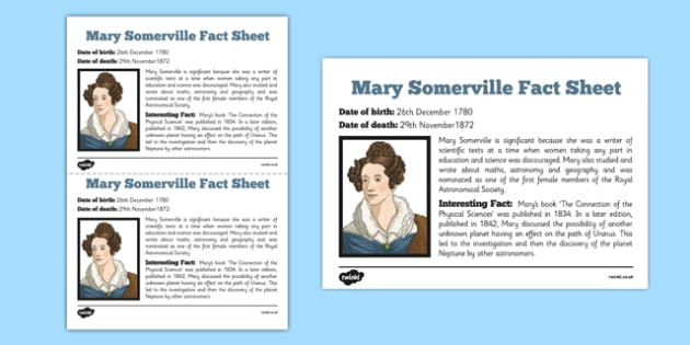 Scottish Significant Individuals Mary Somerville Fact Sheet -CfE, significant individuals, women, science, maths, astronomy