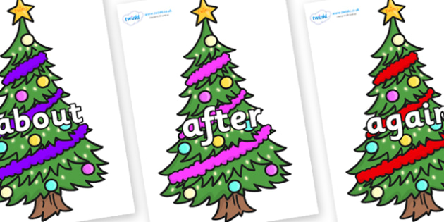 KS1 Keywords on Christmas Trees (Decorated) - KS1, CLL, Communication language and literacy, Display, Key words, high frequency words, foundation stage literacy, DfES Letters and Sounds, Letters and Sounds, spelling