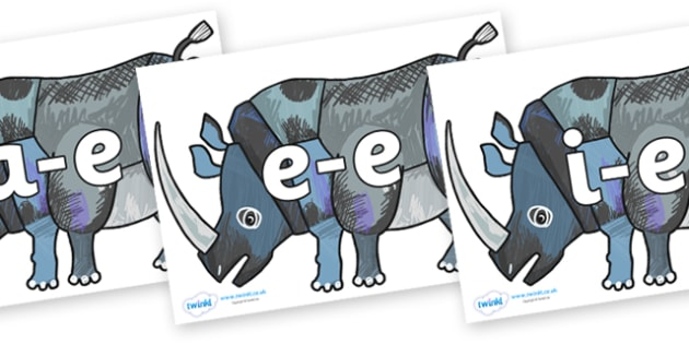 Modifying E Letters on Rhinoceros to Support Teaching on The Bad Tempered Ladybird - Modifying E, letters, modify, Phase 5, Phase five, alternative spellings for phonemes, DfES letters and Sounds