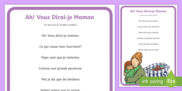 Vous Dirai je Maman French Nursery Rhyme A4 Display Poster - French Games, french songs, nursery rhymes, french nursery rhymes, french tunes, french poster, fren