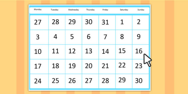 Editable A4 Calendar - editable, a4, calendar, month, days, weeks