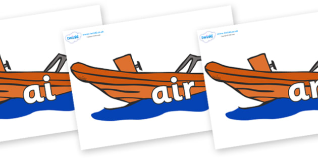 Phase 3 Phonemes on Lifeboats - Phonemes, phoneme, Phase 3, Phase three, Foundation, Literacy, Letters and Sounds, DfES, display