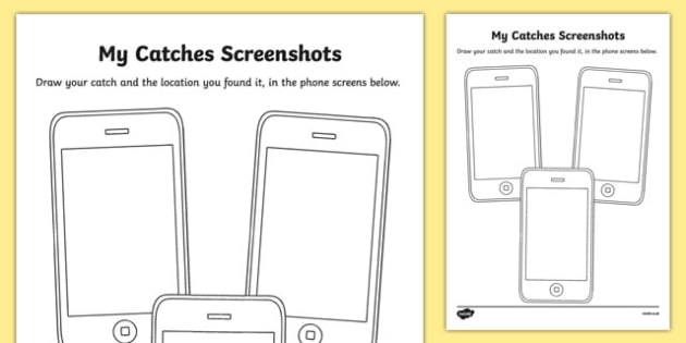 My Catches Screenshots Activity Sheet, worksheet