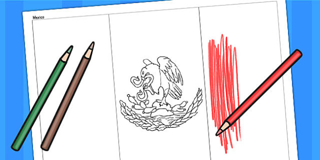 Mexico A4 Colouring Flag - geography, flags, country, colour in