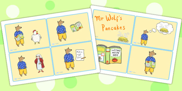 Story Cards to Support Teaching on Mr Wolf's Pancakes - mr wolfs pancakes, story, cards