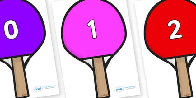 Numbers 0-50 on Table Tennis Bats - 0-50, foundation stage numeracy, Number recognition, Number flashcards, counting, number frieze, Display numbers, number posters