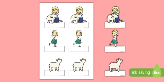 Mary Had a Little Lamb Editable Self Registration - mary had a little lamb, nursery rhyme, editable, self registration