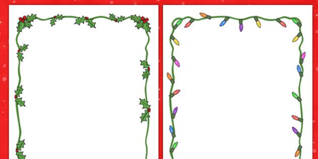 Christmas Page Borders - Christmas, xmas, Happy Christmas, tree, advent, nativity, page border, border, writing template, writing aid, writing aid, santa, father christmas, Jesus, tree, stocking, present, activity, cracker, angel, snowman, advent