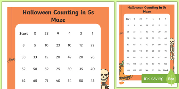 Halloween Themed Counting in 5s Maze Activity Sheet, worksheet