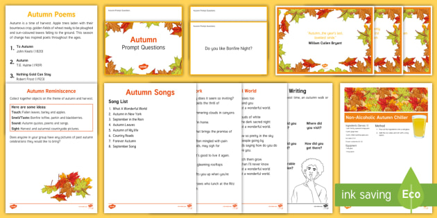 Elderly Care - Autumn Resource Pack - Autumn, Seasons, Display, September, October, November, Leaves, Harvest, Activity Co-ordinators, Sup
