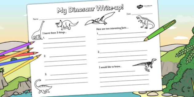 Dinosaur Write Up Worksheet - dinosaurs, write up, literacy