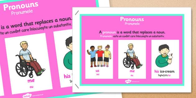 Pronoun Display Poster Romanian Translation - romanian, pronoun, display, poster, display poster