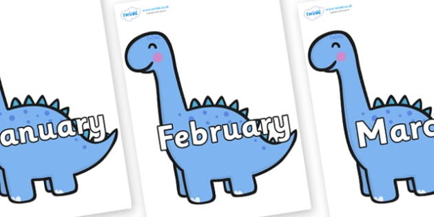 Months of the Year on Diplodocus Dinosaurs - Months of the Year, Months poster, Months display, display, poster, frieze, Months, month, January, February, March, April, May, June, July, August, September