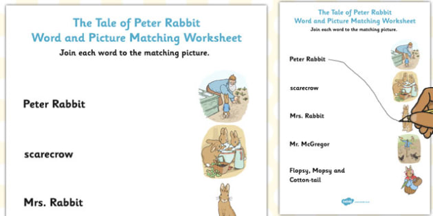 The Tale of Peter Rabbit Word and Picture Match - peter rabbit