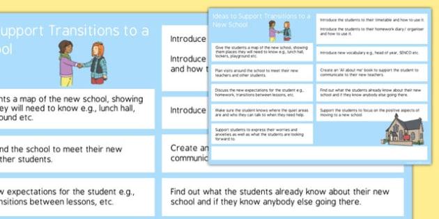Editable SEN Transition to Secondary School Transition Ideas