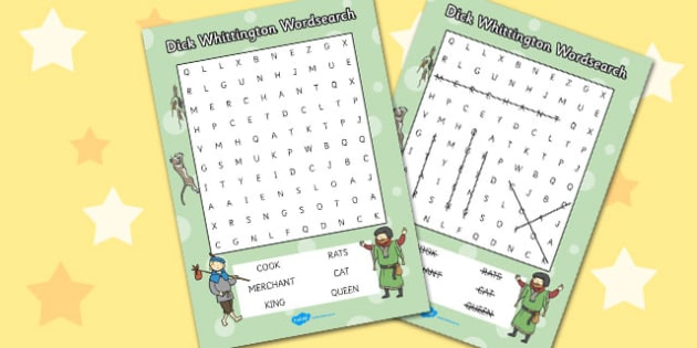 Dick Whittington Wordsearch - Dick, Whittington, Word, Search
