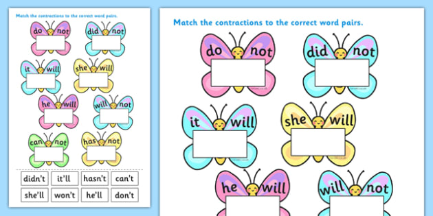 Contractions Butterfly Activity Sheets- contractions, contractions on butterflies, contractions worksheet, contractions on butterflies worksheet, literacy