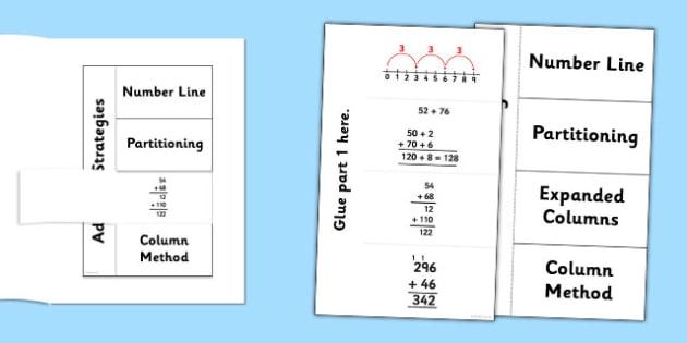 Addition Strategies Flapbook - addition, strategies, add, numeracy, maths, addition strategies, flapbook