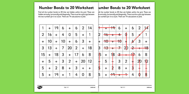 Number Bonds to 20 Word Search - number bonds, numeracy, maths, Number bonds to 20, addition, subtraction