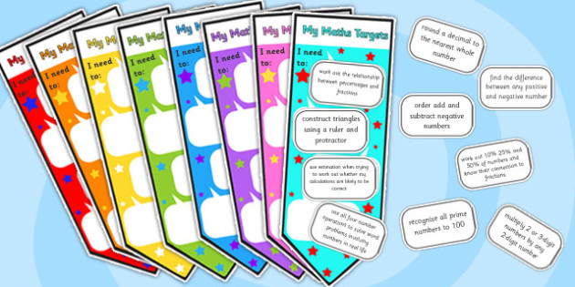 Level 4 Maths Assessment Bookmarks and Target Cut-Outs - level 4, maths assessment, maths, maths level 1, bookmarks, target stickers, maths sticker, numeracy