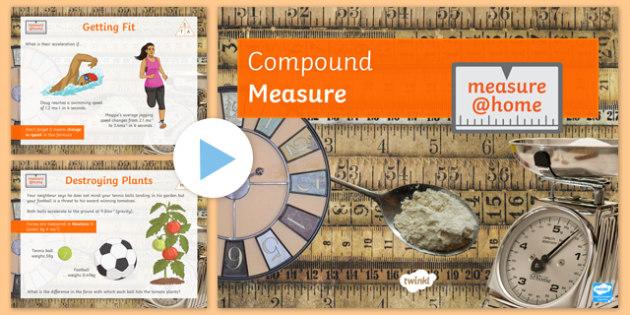 Measure at Home Compound Measures GCSE Grades 4 to 5 PowerPoint - measure at home, compound measures, gcse, grade